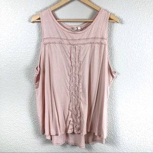 Gap Blush Pink Sleeve Blouse Tank Top XXL